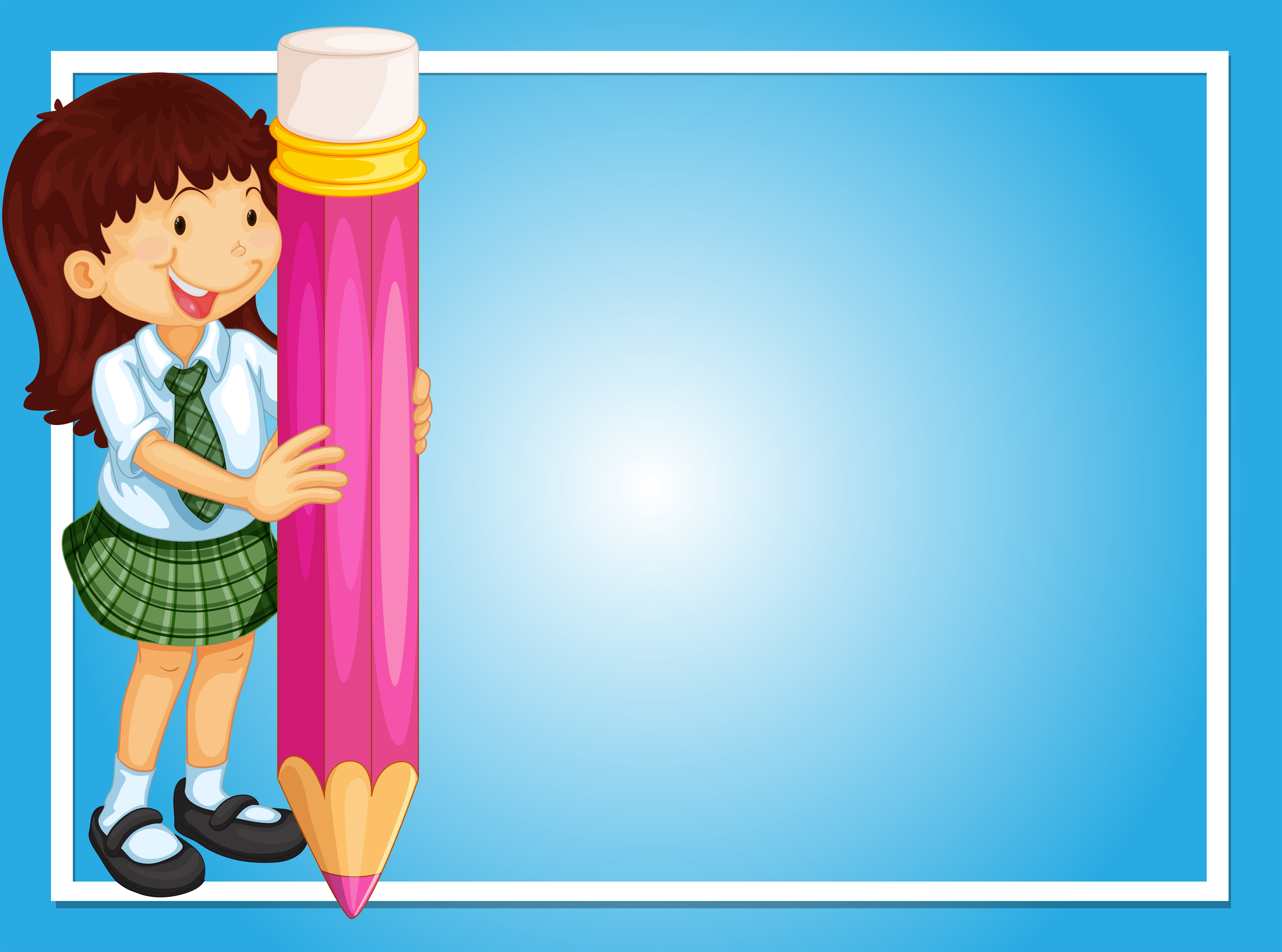 border template with girl and pink pencil