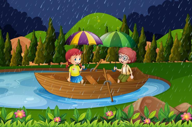 Dia chuvoso com duas crianças em barco a remos vetor