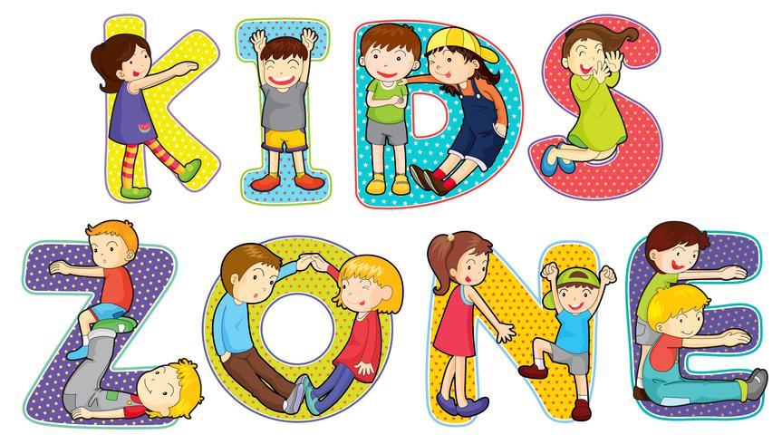 Children on kids zone symbol
