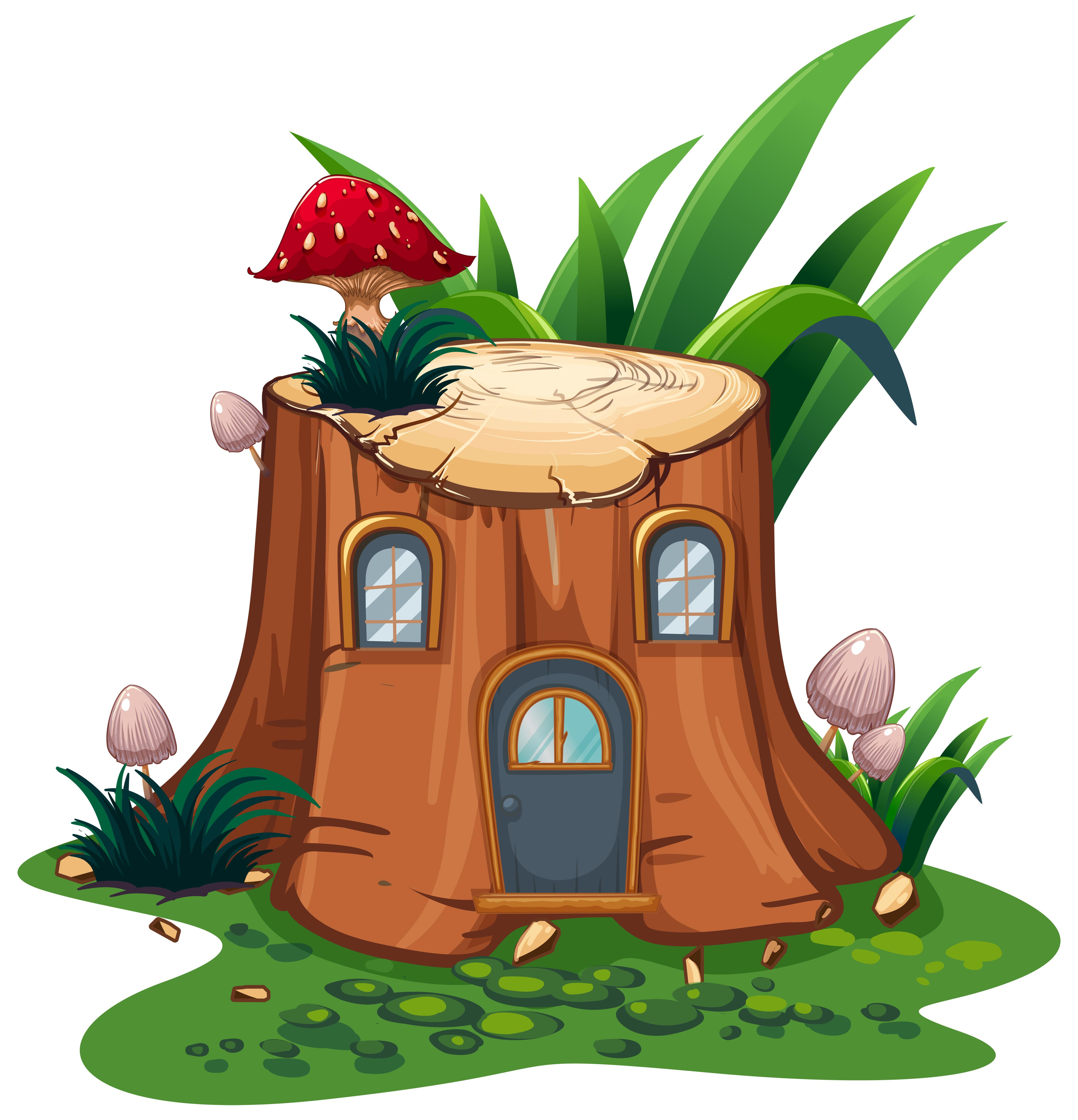 Mushroom on stump tree in garden - Download Free Vectors ...