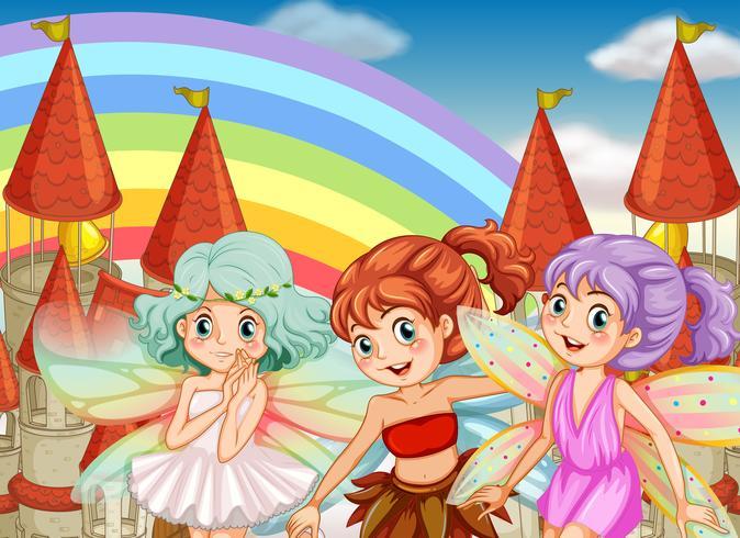 Three fairies and rainbow background