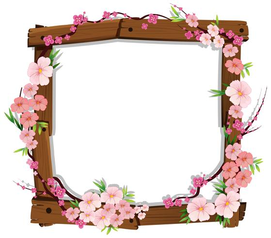 Asian Pink Japanese Sakura on Wooden Frame vector