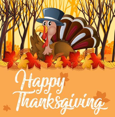 Turkey and orange autumn template vector