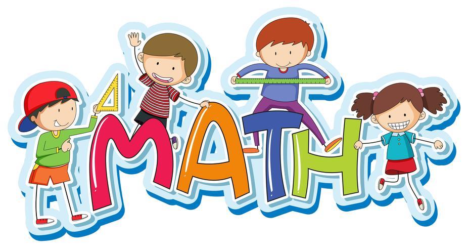 Teckensnittsdesign för ordmatematik med glada barn vektor