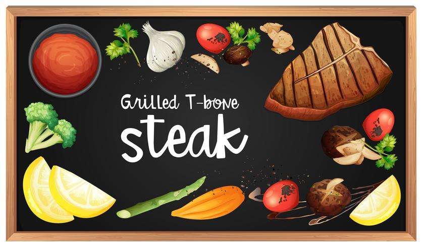 Menú de bistec y elemento en pizarra