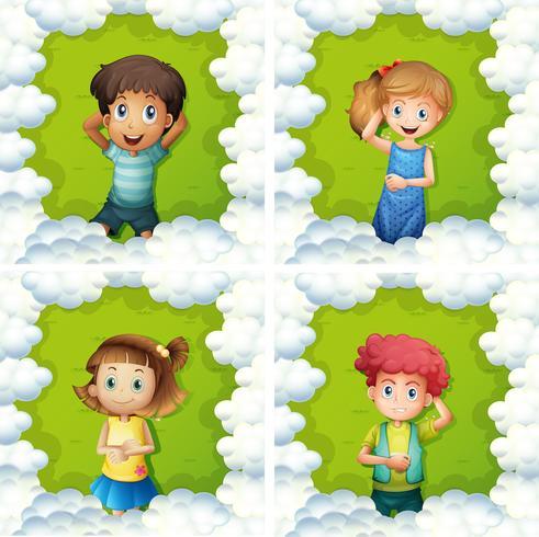Quatro crianças, ligado, grama verde