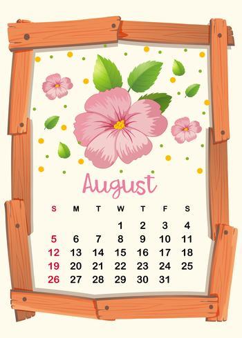 Kalendersjabloon met roze bloemen voor augustus