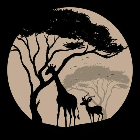 Silhouette scene with giraffe and gazelle