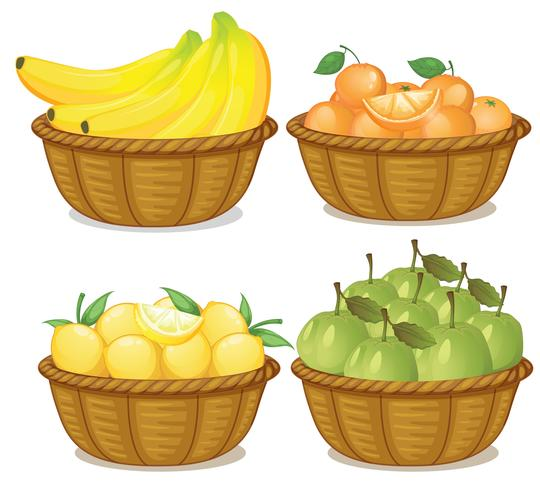 Un conjunto de frutas en cesta.