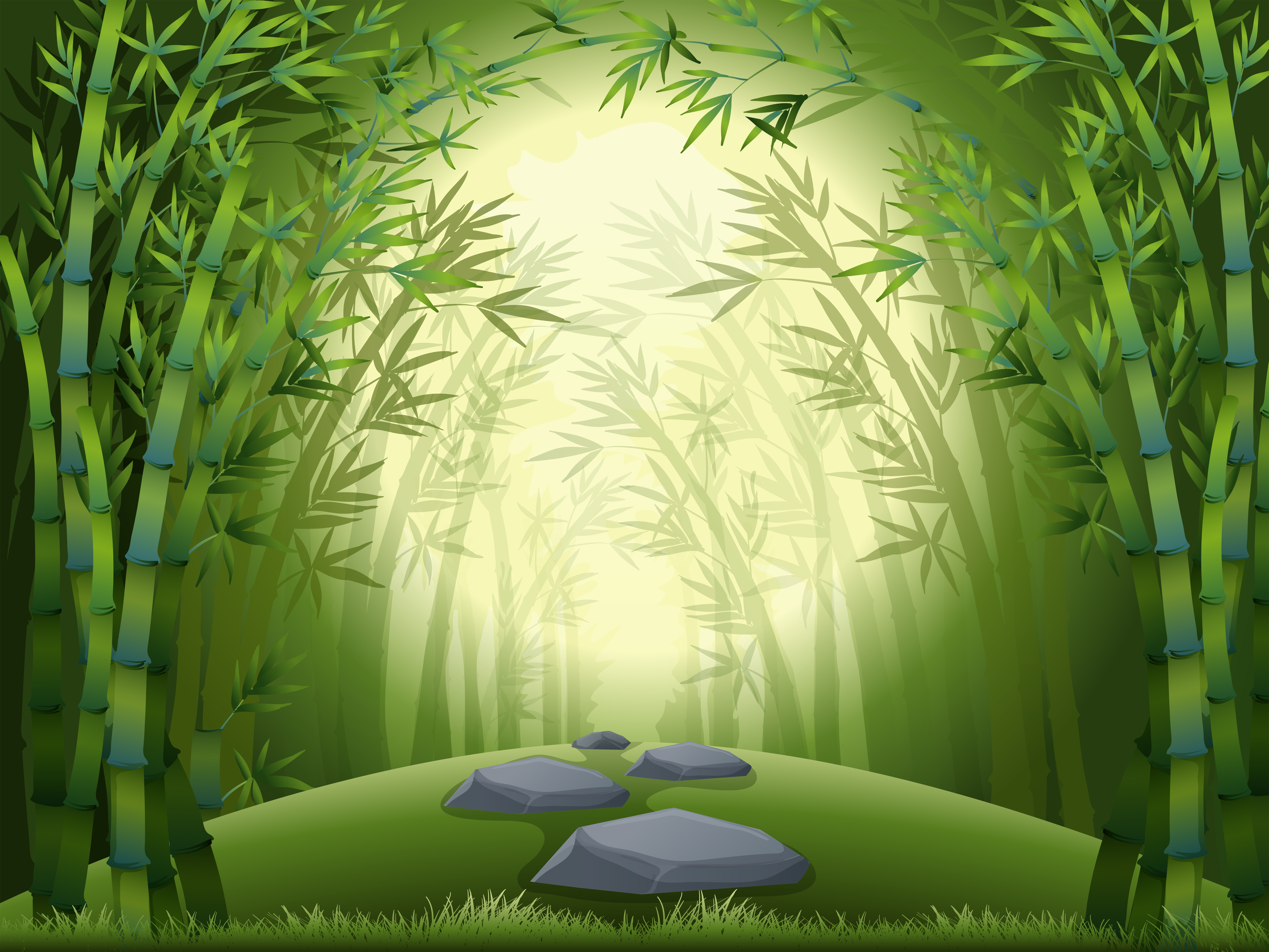 Background Scene With Bamboo Forest Download Free Vector