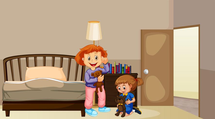 Due ragazze in camera da letto