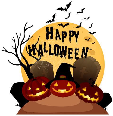 Fröhliches Halloween auf weißem Hintergrund
