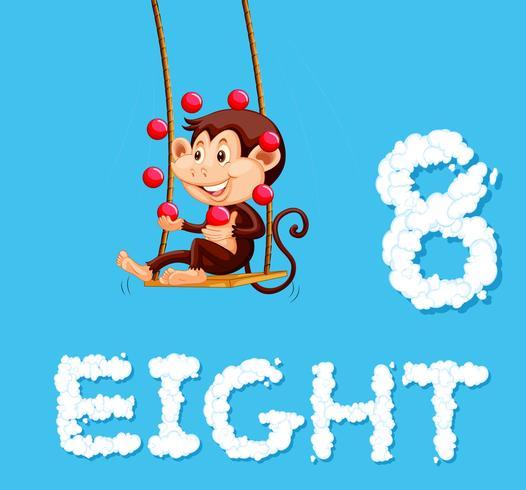Een aap jongleert met acht bal