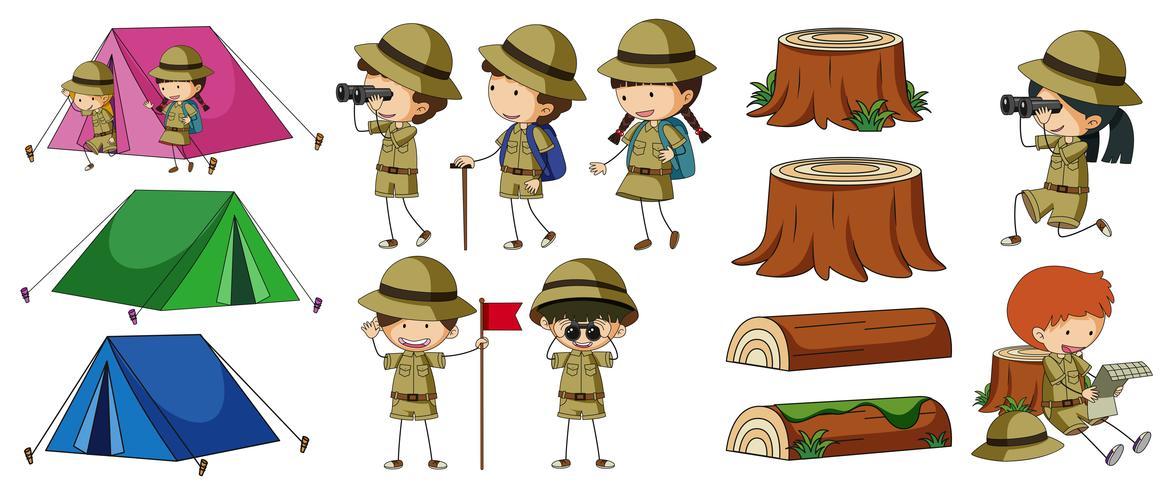 Boyscouts e elementos de acampamento