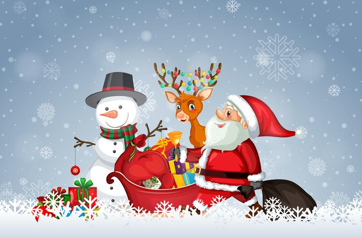 Santa with christmas template vector