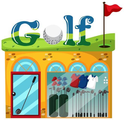 Uma loja de golfe no fundo branco vetor