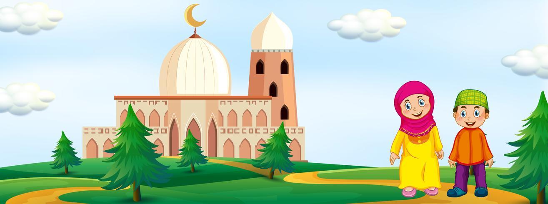 Bambini musulmani con sfondo Moschea