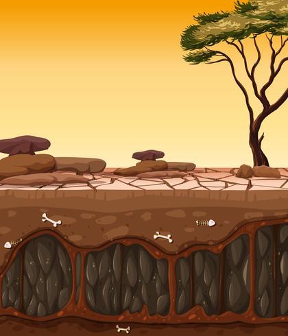 Boven en droge gebarsten grond