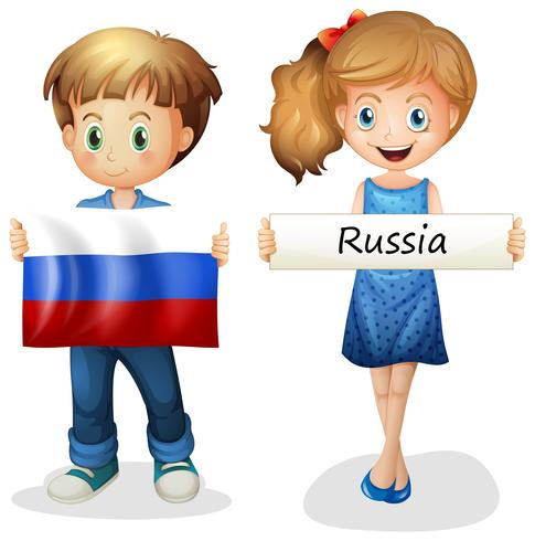 Jongen en meisje met vlag van Rusland