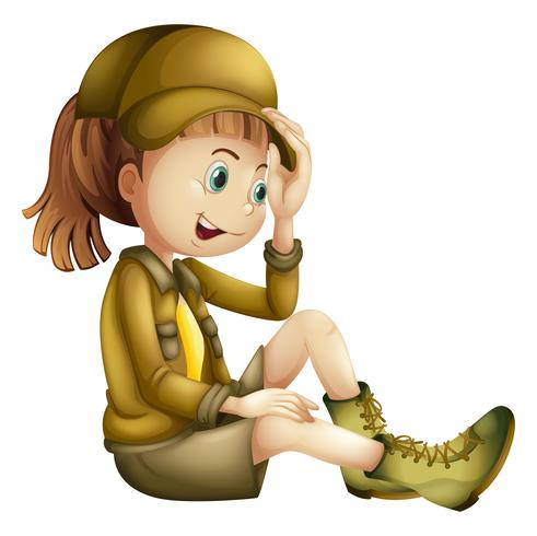 A Safari Girl with Cap on White Background