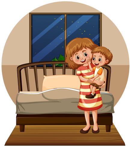Madre e hijo en dormitorio vector