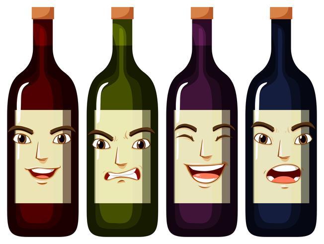 Gesichtsausdrücke auf Weinflaschen