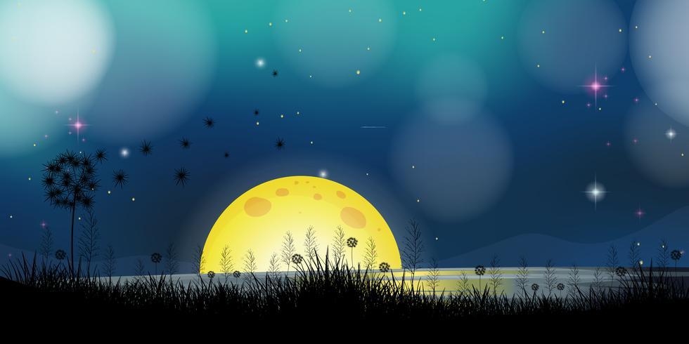 Escena de fondo con luna llena en el lago