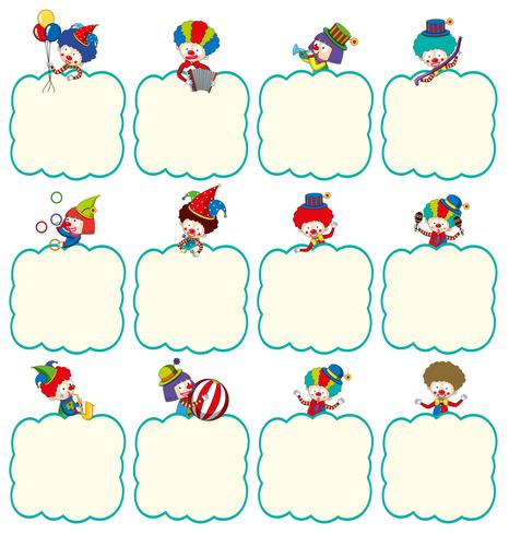 Rahmenvorlage mit Clowns in verschiedenen Aktionen
