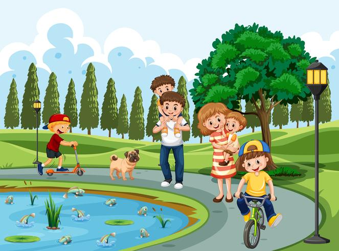 Family exercising in a park
