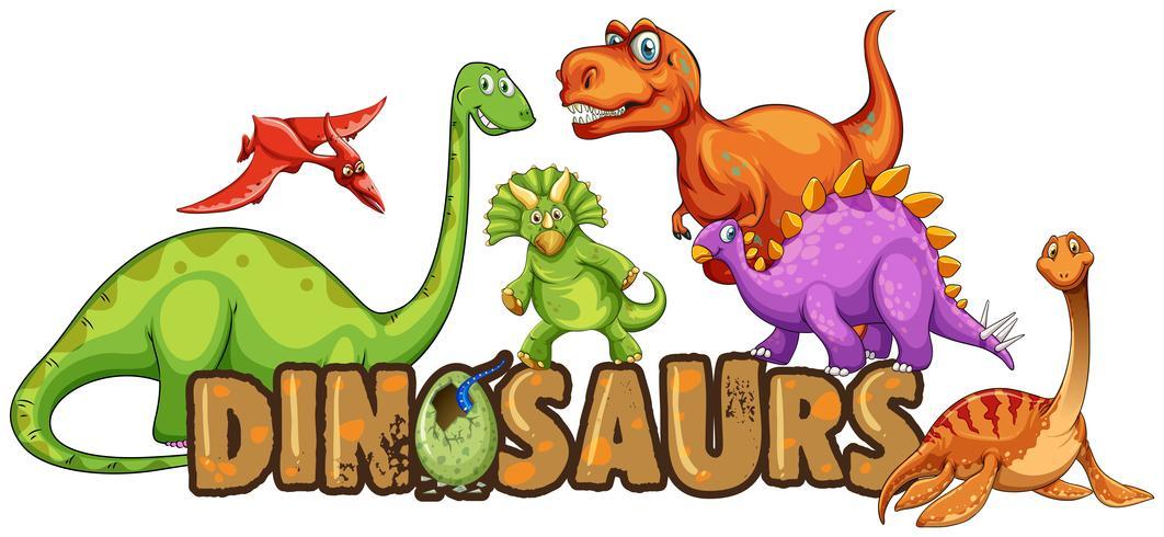 Mot design pour les dinosaures vecteur