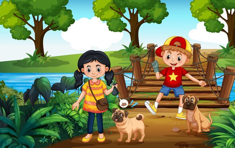 Kinder, die Hunde gehen und Poop aufheben