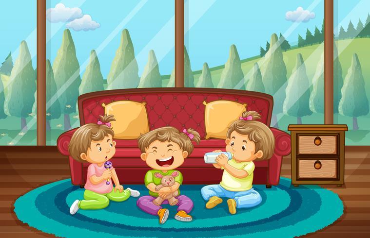 Três crianças, tocando, em, sala de estar vetor