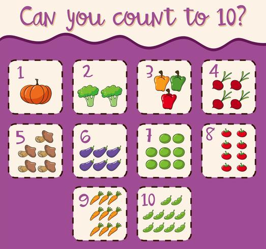Mathematics Card Count 1 to 10 vector