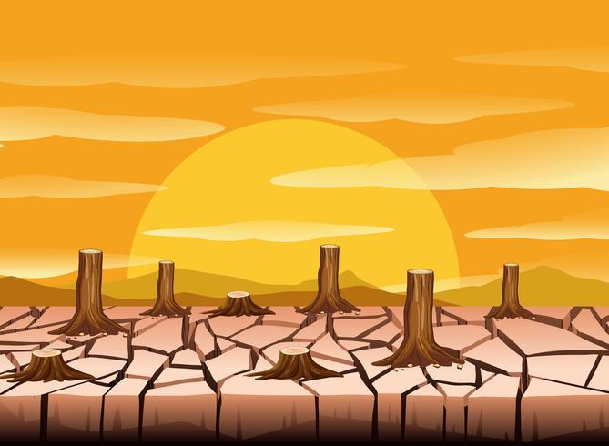 Una terra arida e calda vettore