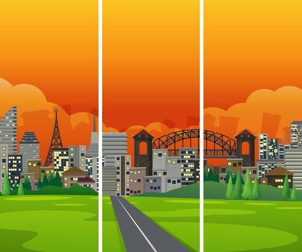 Un paysage urbain du côté de la route