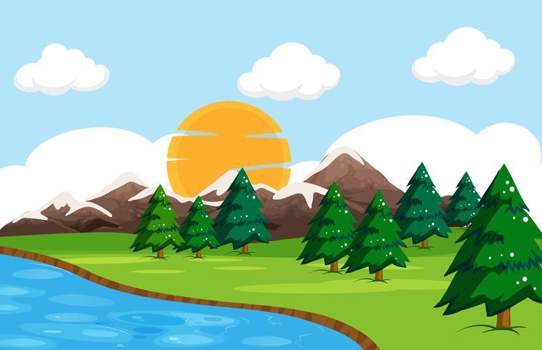 A simple nature landscape vector