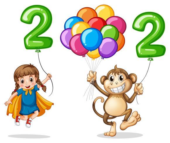 Menina e macaco com o número dois