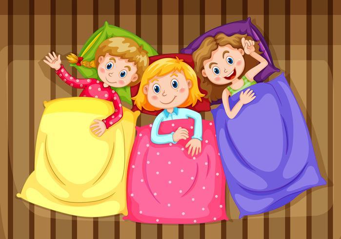 Três meninas, obtendo pronto, cama vetor