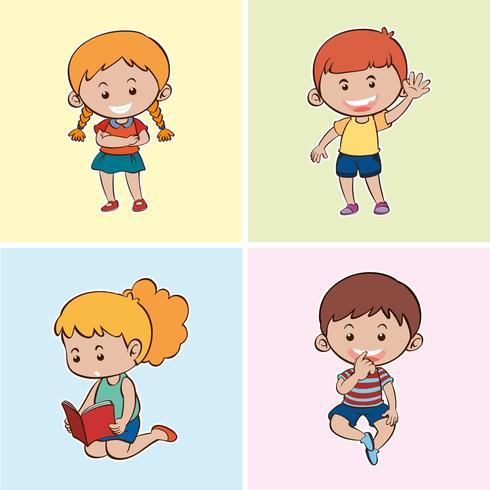 Quattro bambini felici su sfondi diversi