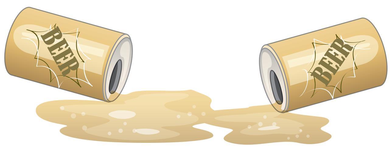 Lettiera di lattine di birra isolata