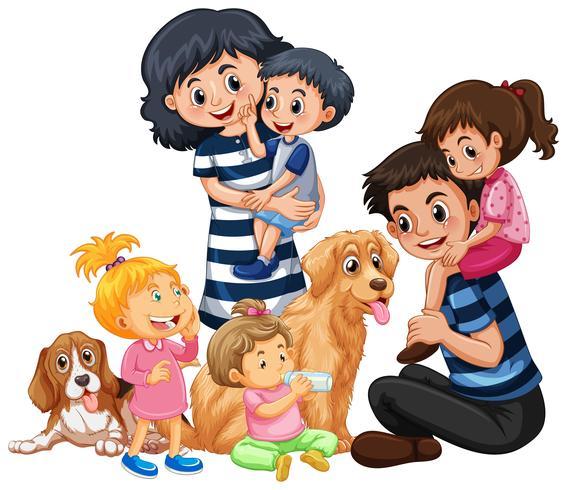 Eine glückliche Familie und ein Haustier vektor