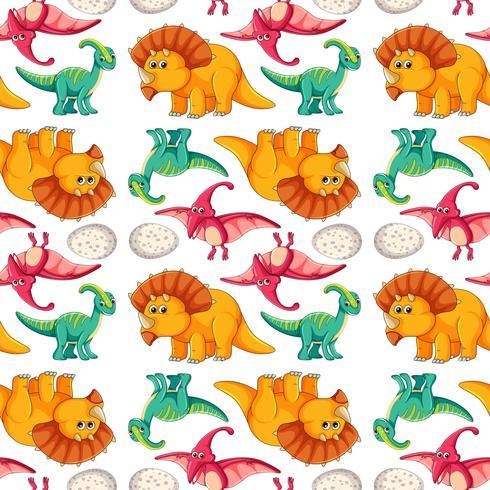 Dinosaur on seamless pattern vector