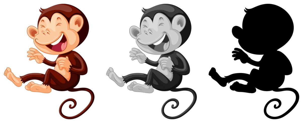 Conjunto de macaco rindo