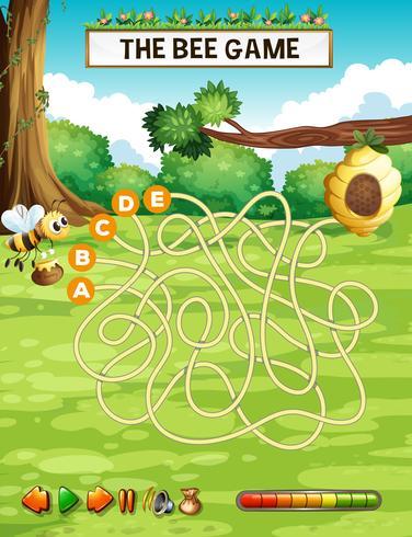 Biene Labyrinth Puzzle Spiel Vorlage