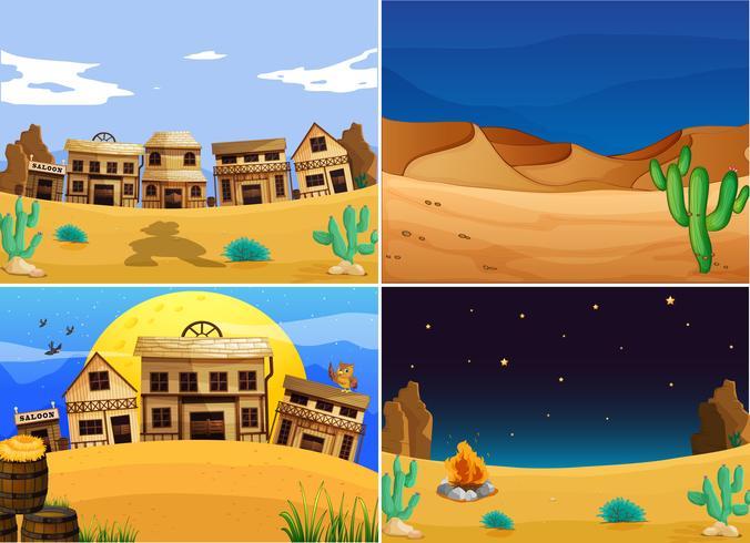 Vier westelijk land met gebouwen en cactus