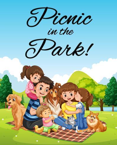 Diseño de cartel con picnic familiar en el parque. vector