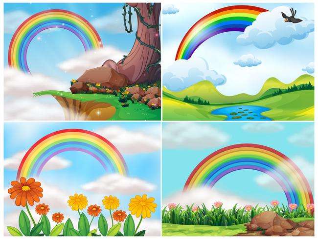 A Set of Mountain Landscape and Rainbow