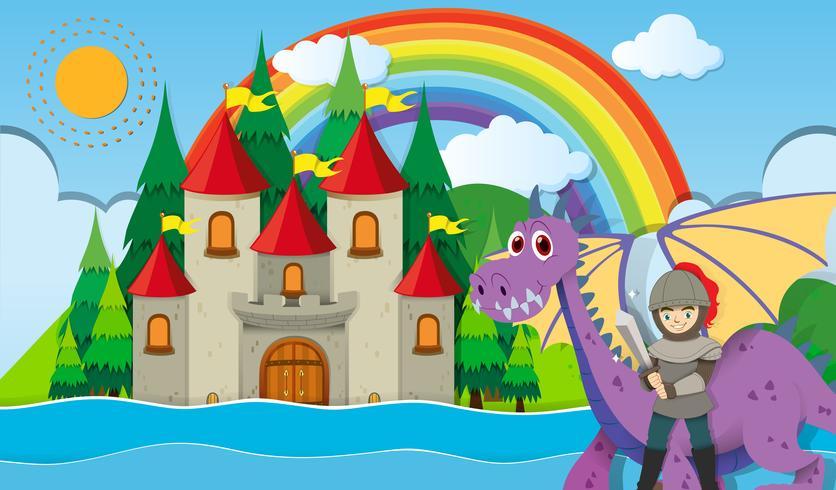 Cavaliere e drago al castello