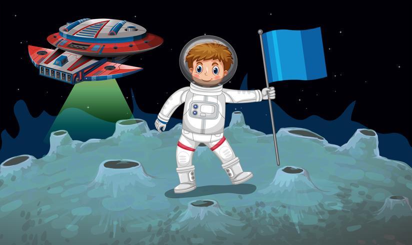 Astronaut en ruimteschip op de maan