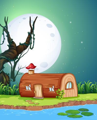 Magisches Holzhaus in der Nacht